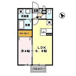 ベア−レ高屋敷[101号室]の間取り