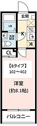JR常磐線 柏駅 徒歩10分の賃貸マンション 1階1Kの間取り