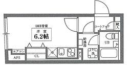 ココキューブ井草 1階ワンルームの間取り