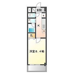 JR東海道本線 西岡崎駅 徒歩1分の賃貸マンション 2階1Kの間取り