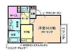 大阪府豊中市庄内栄町2丁目の賃貸アパートの間取り