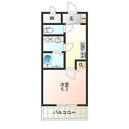 阪堺電気軌道阪堺線 細井川駅 徒歩5分の賃貸マンション 2階ワンルームの間取り