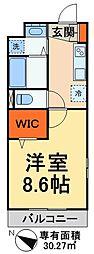 JR武蔵野線 吉川美南駅 徒歩10分の賃貸アパート 2階1Kの間取り
