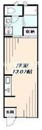 西武新宿線 花小金井駅 徒歩5分の賃貸アパート 1階ワンルームの間取り