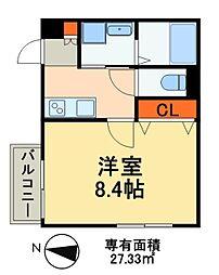 JR武蔵野線 新松戸駅 徒歩13分の賃貸アパート 2階1Kの間取り