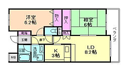 大阪府池田市姫室町の賃貸マンションの間取り