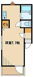メルディア西生田I 2階ワンルームの間取り