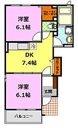 茨城県下妻市下妻丙の賃貸アパートの間取り