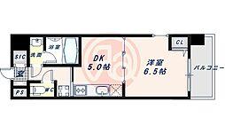 近鉄南大阪線 河堀口駅 徒歩7分の賃貸マンション 7階1DKの間取り