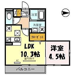 (仮)日進町1丁目PJ 2階1LDKの間取り