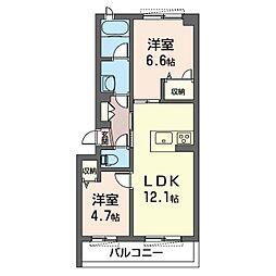 アンビエラ 2階2LDKの間取り