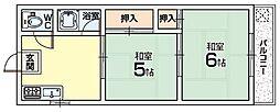 三熊渚南ハイツ[3階]の間取り