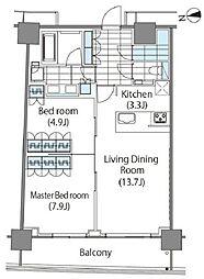 コンフォリア新宿イーストサイドタワー タワー棟 2階2LDKの間取り