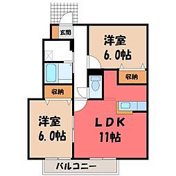 栃木県小山市東城南2丁目の賃貸アパートの間取り
