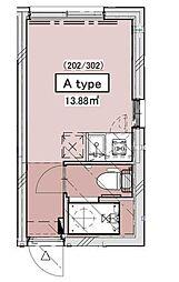 JR山手線 恵比寿駅 徒歩10分の賃貸マンション 2階ワンルームの間取り