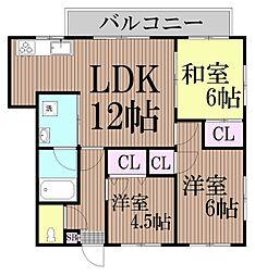 東京都大田区久が原1丁目の賃貸マンションの間取り