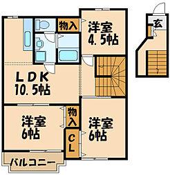 JR南武線 矢野口駅 徒歩7分の賃貸アパート 2階3LDKの間取り