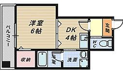 大阪府堺市堺区東雲西町4丁の賃貸マンションの間取り