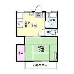 第1大金アパート[201号室]の間取り