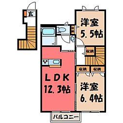 茨城県筑西市関本中の賃貸アパートの間取り