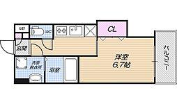 Osaka Metro谷町線 田辺駅 徒歩2分の賃貸マンション 8階1Kの間取り