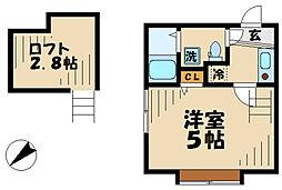 小田急小田原線 読売ランド前駅 徒歩4分の賃貸アパート 2階1Kの間取り