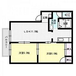 コーポホワイトD棟[1階]の間取り