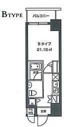 レジディア虎ノ門 8階1Kの間取り