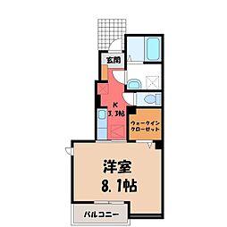 JR東北本線 宇都宮駅 バス20分 中央女子高前下車 徒歩3分の賃貸アパート 1階1Kの間取り
