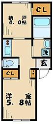 アウローラ南多摩 2階1SKの間取り
