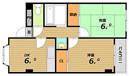 ケーコート(K−court)西代[2階]の間取り