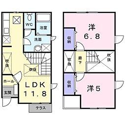 [テラスハウス] 神奈川県大和市上草柳 の賃貸【神奈川県 / 大和市】の間取り