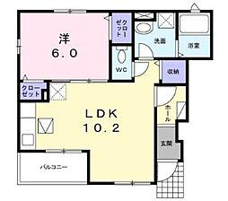 東急田園都市線 宮崎台駅 徒歩18分の賃貸アパート 1階1LDKの間取り