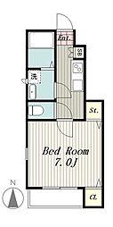 京王線 高幡不動駅 徒歩5分の賃貸アパート 1階1Kの間取り