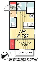 JR総武線 本八幡駅 徒歩10分の賃貸マンション 1階1DKの間取り