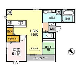 プレミアムコート新金岡[3階]の間取り