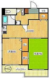第98新井ビル[401号室]の間取り