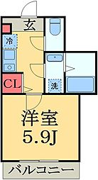 JR総武線 稲毛駅 徒歩12分の賃貸アパート 2階1Kの間取り
