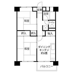 JKK東京 新田 10階2DKの間取り