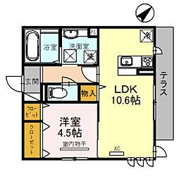 JR阪和線 百舌鳥駅 徒歩7分の賃貸アパート 1階1LDKの間取り