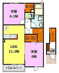 茨城県下妻市高道祖の賃貸アパートの間取り