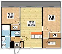 長崎県長崎市滑石2丁目の賃貸アパートの間取り