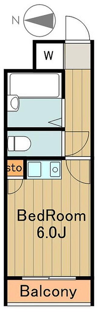 間取り(シンプルなワンルーム、お財布に優しいお部屋です)