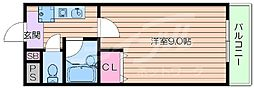 大阪府吹田市佐井寺3丁目の賃貸マンションの間取り