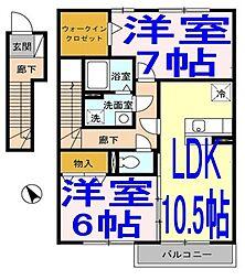 シヅグランツB[203号室]の間取り