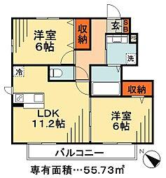 JR武蔵野線 市川大野駅 徒歩25分の賃貸アパート 1階2LDKの間取り