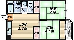 大阪府堺市南区桃山台2丁の賃貸マンションの間取り