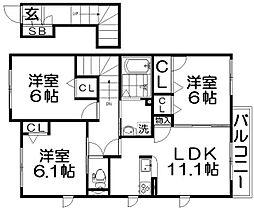 大阪府寝屋川市打上中町の賃貸アパートの間取り