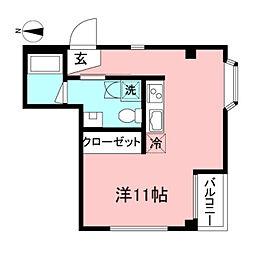 小金井ビル 2階ワンルームの間取り