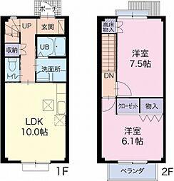 静岡県袋井市浅羽の賃貸アパートの間取り